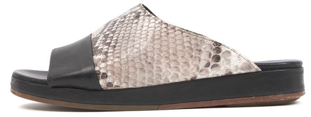RAG & BONE Black Gray Leather Embossed Slip-On Casual Sandal Mules