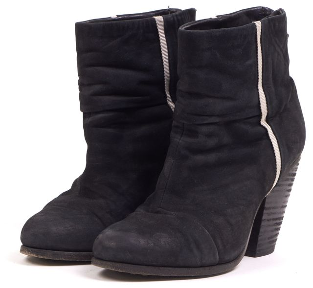 RAG & BONE Black Suede bury Casual Round Toe Stacked Heel Ankle Boots