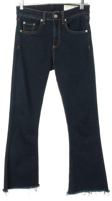 RAG & BONE Blue Rivington Frayed Hem 10 Inch Flare Jeans