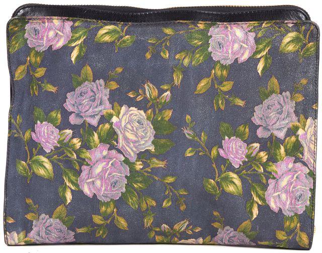 RAG & BONE Blue Purple Green Floral Print Suede Tablet Case Clutch Bag
