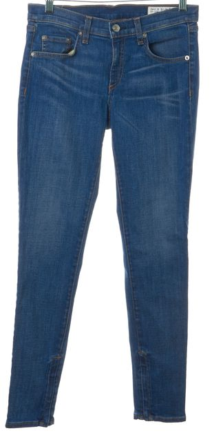 RAG & BONE Blue Vintage Zipper Capri Mid-Rise Skinny Jeans