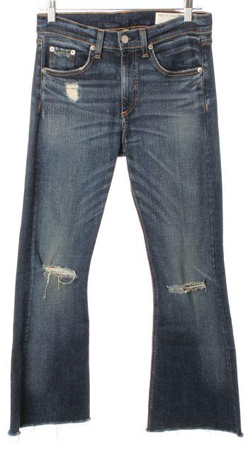 RAG & BONE Blue Mabel Distressed Medium Wash 10 Inch Flare Jeans