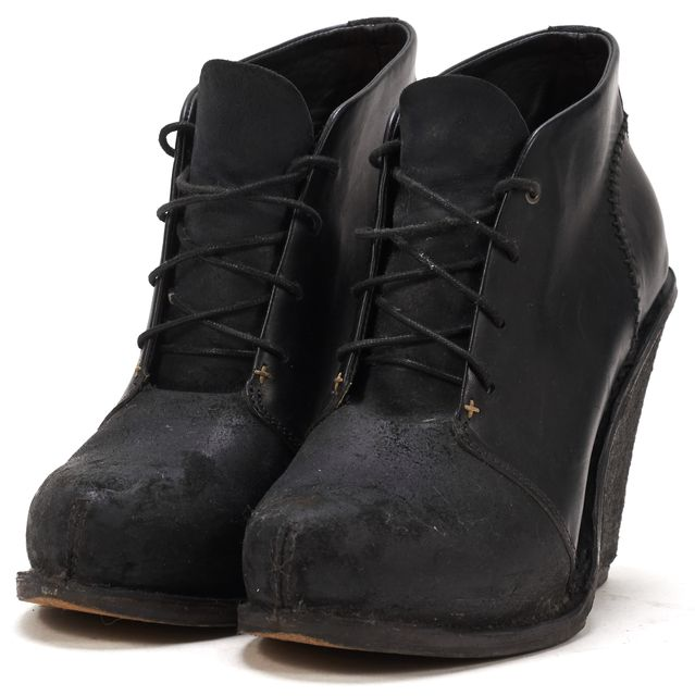 RAG & BONE Black Leather Wedged Lace-Up Ankle Boots