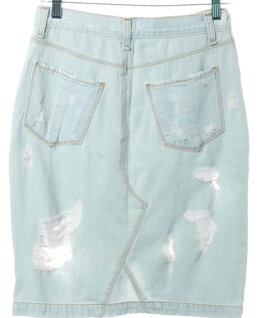 RAG & BONE Blue Light Wash Distressed Denim Shred Norte Pencil Skirt