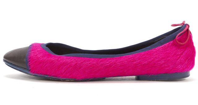RAG & BONE Magenta Pink Calf-Hair Black Leather Cap Toe Ballet Flats