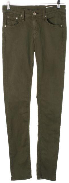 RAG & BONE Distressed Army Green Stretch Denim Skinny Leg Jeans