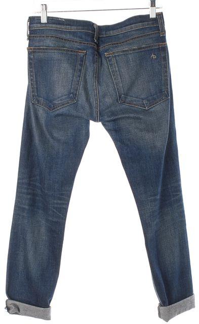 RAG & BONE Blue Bradford Denim The Dre Rolled Cuffed Cropped Jeans