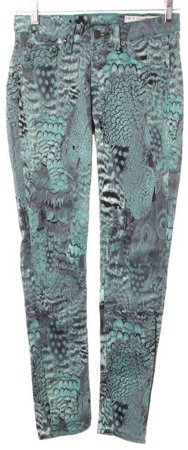 RAG & BONE Green Peacock Stretch Cotton Mid-Rise Legging Jeans