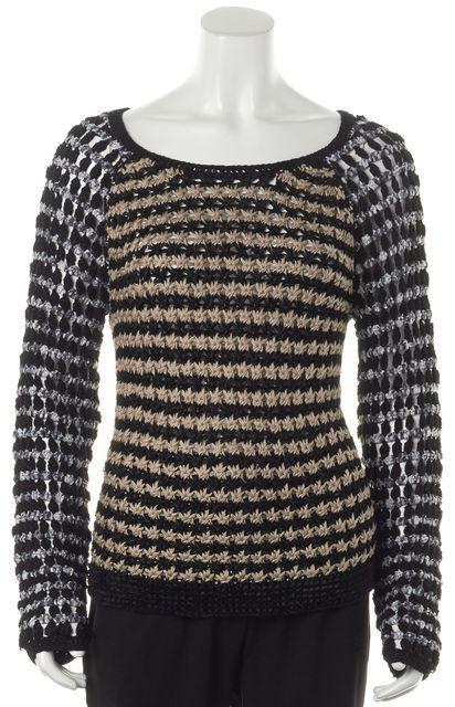 RAG & BONE Black Beige Gray Scoop Neck Sweater
