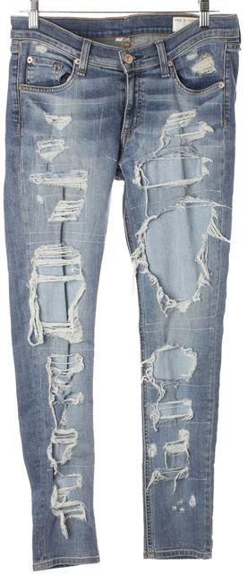 RAG & BONE Blue Brigade Light Washed Distressed Skinny Jeans