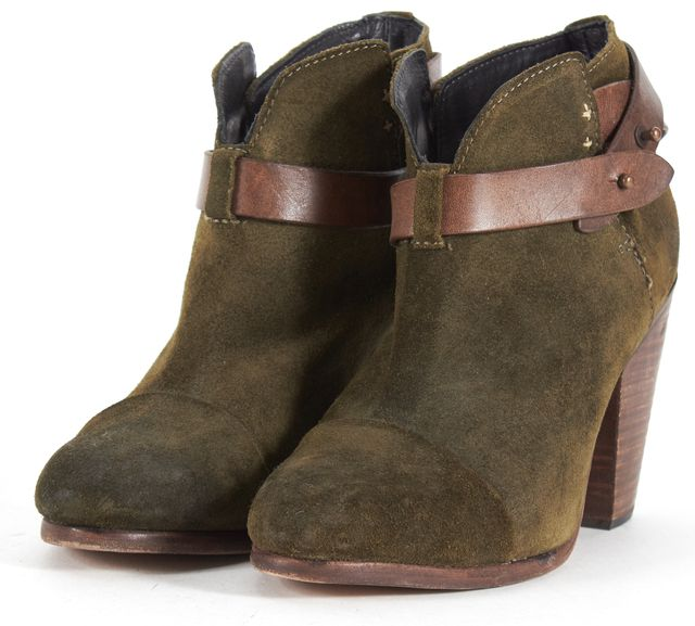 RAG & BONE Green Suede Brown Leather Strap bury Ankle Boots
