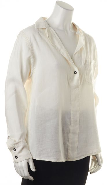 RAG & BONE White Linen Long Sleeve Semi Sheer Blouse Top