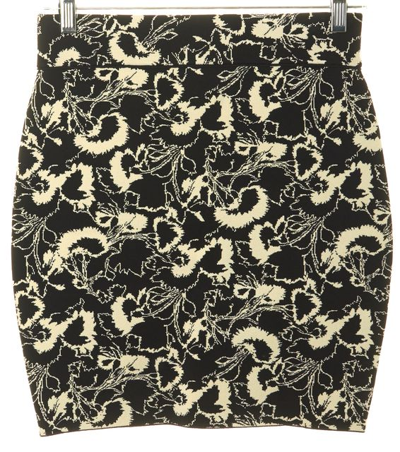 RAG & BONE Black Ivory Floral Liberty Stretch Knit Skirt