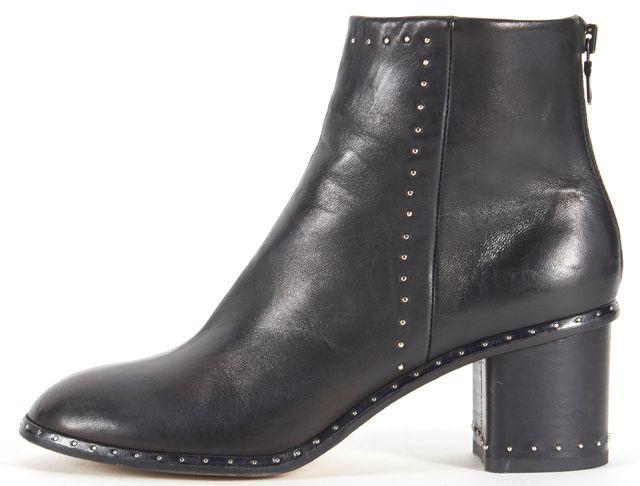 RAG & BONE Black Leather Stud Embellished Round Toe Ankle Boots