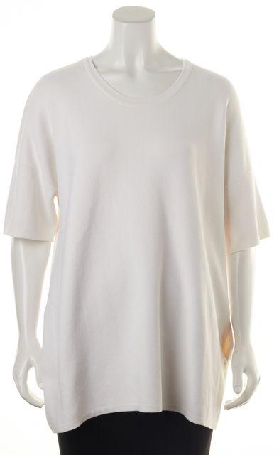 RAG & BONE White Crewneck Short Sleeve Oversized Sweatshirt