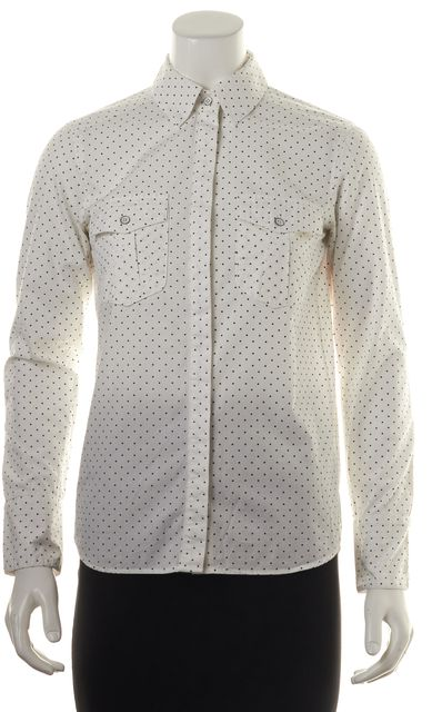 RAG & BONE White Black Star Printed Button Down Shirt Top