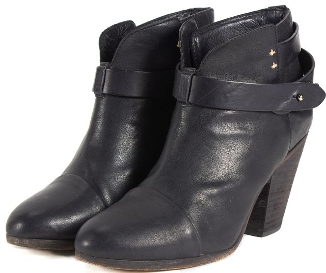 RAG & BONE Black Leather Two Strap Round Toe Stacked Heel Ankle Boots