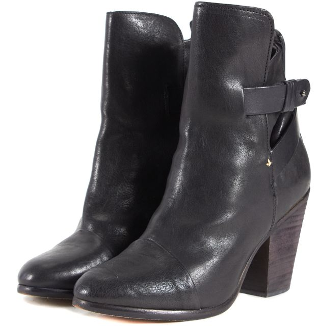 RAG & BONE Black Leather Cap Toe Wrap Strap Stacked Heel Ankle Boots