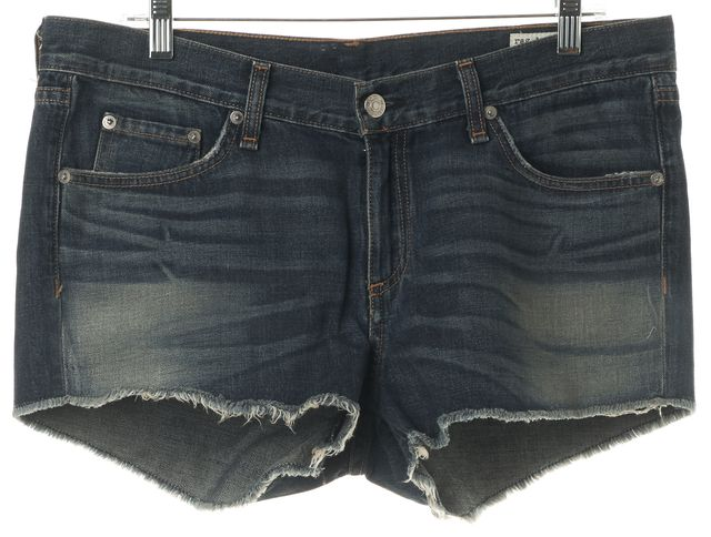 RAG & BONE Blue Distressed Medium Wash Cutoff Denim Shorts