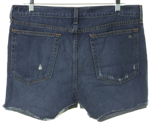 RAG & BONE Blue Woodstock Medium Wash Distressed Denim Shorts