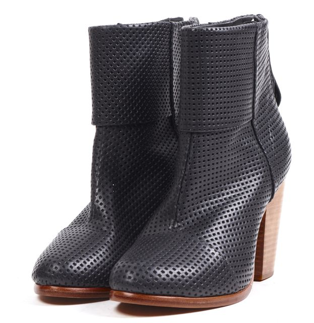 RAG & BONE Black Perforated Leather Block Heel Ankle Boots