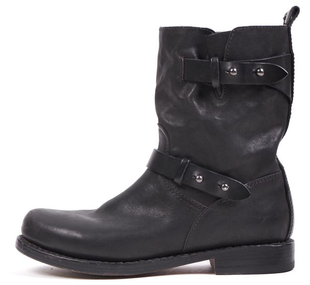 RAG & BONE Black Leather Motorcycle Ankle Boots