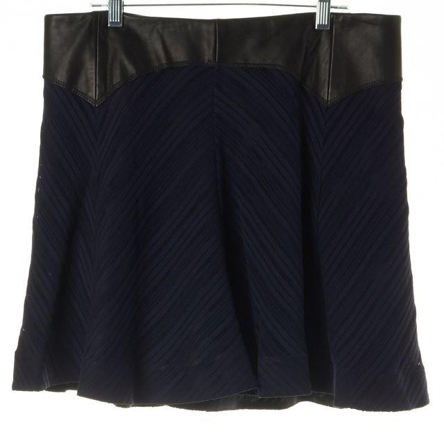 RAG & BONE Blue Black Leather Trim Micro Mini Full Skirt