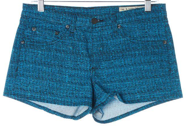 RAG & BONE Blue Black White Tweed Print Stretch Cotton Denim Shorts