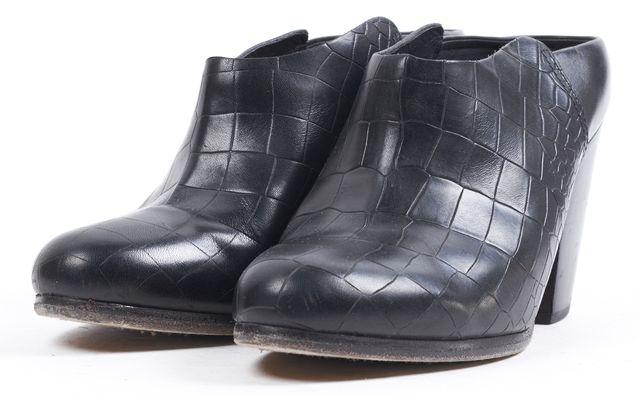 RAG & BONE Black Crocodile Embossed Leather Block Heeled Enid Mules