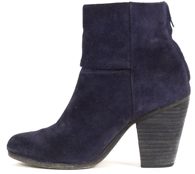 RAG & BONE Blue Suede Round Toe Zip Back Ankle Boots