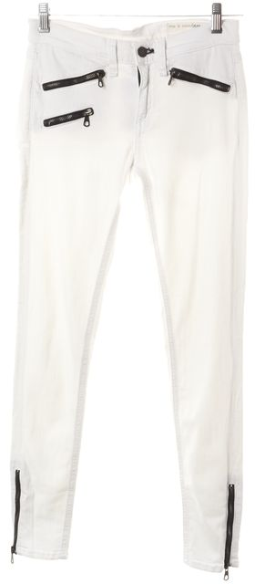 RAG & BONE Bright White Zip Detailed Mid-Rise Skinny Jeans