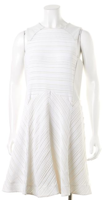 RAG & BONE White Leather Trim Sleeveless Perforated Sheath Dress