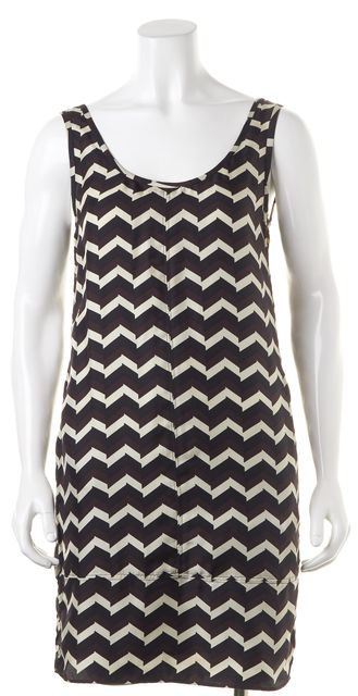 RAG & BONE Brown Beige Black Chevron Silk Sleeveless Shift Dress