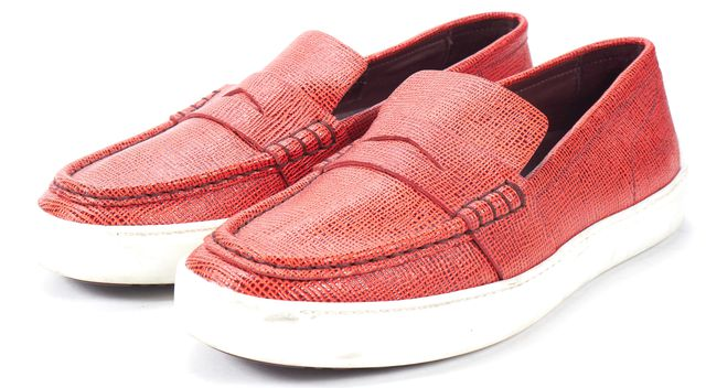 RAG & BONE Red Embossed Leather Slip-On Sneaker Loafers