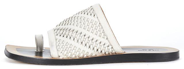 RAG & BONE Ivory Woven Leather Slip On Sandals