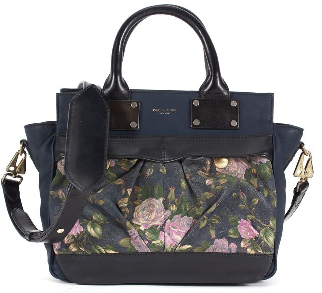 RAG & BONE Navy Blue Pink Green Floral Printed Leather Small Pilot Satchel