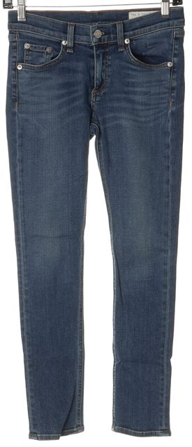 RAG & BONE Sinoma Blue Stretch Cotton Capri Skinny Jeans