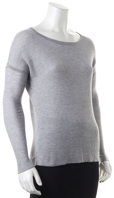 RAG & BONE Gray White Boat Neck Open Knit Perforated Sweater