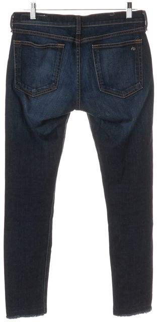 RAG & BONE Blue Medium Wash Skinny Frayed Hem Jeans