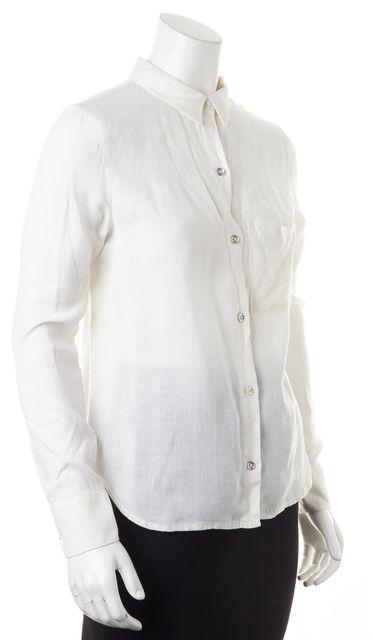 RAG & BONE White Linen Pocket Front Long Sleeve Button Down Shirt Top