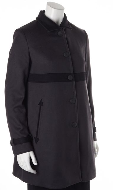 RAG & BONE Gray Black Wool High Neck Button Up Basic Coat