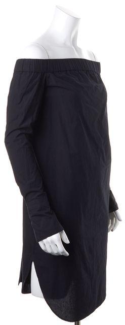 RAG & BONE Black Cotton Off-Shoulder Long Sleeves Button Back Shirt Dress