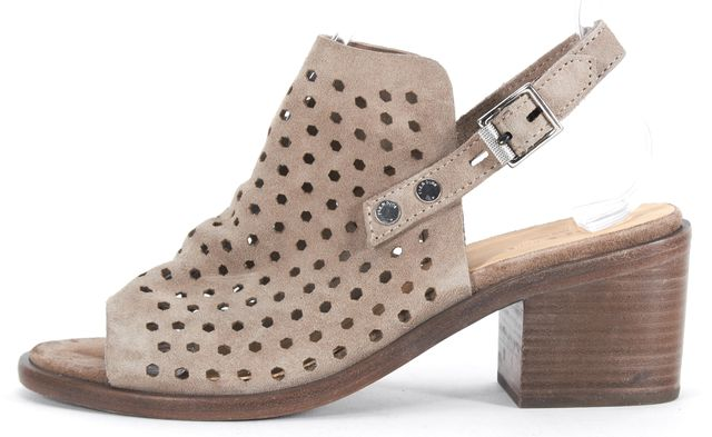 RAG & BONE Gray Cut-out Suede Sandal Heels