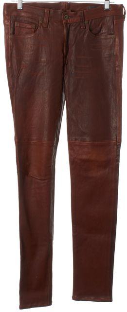 RAG & BONE Washed Brown Leather Skinny Casual Pants
