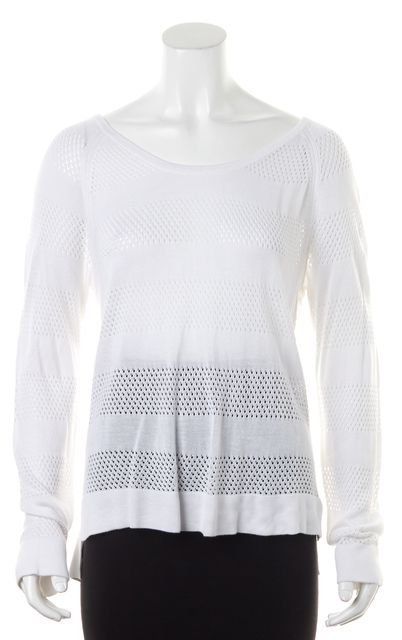 RAG & BONE White Abstract Open Thin Knit Scoop Neck Sweater