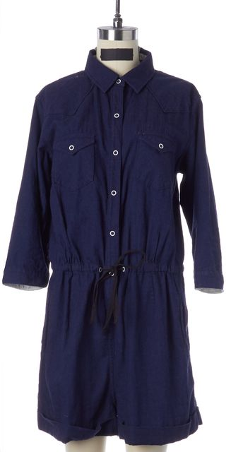 RAG & BONE Blue Cotton Drawstring Waist 3/4 Sleeve Relaxed Fit Romper