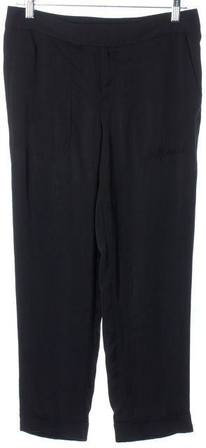 RAG & BONE Solid Black Fluidity Wide Legged Casual Pants