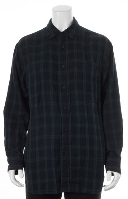 RAG & BONE Dark Green Blue Plaid Flannel Button Down Shirt