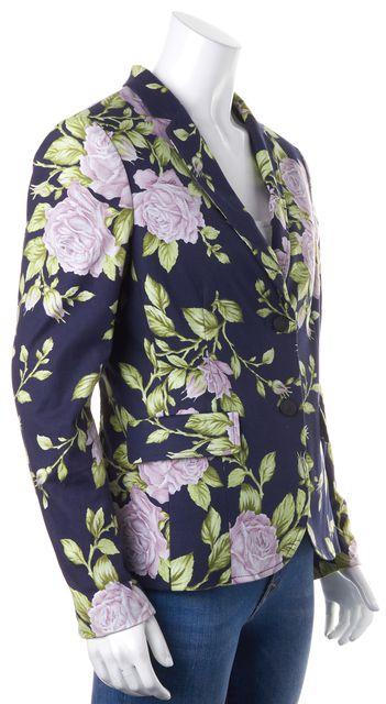 RAG & BONE Navy Blue Multi Floral Two Button Bailey Jacket Blazer