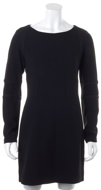 RAG & BONE Black Textured Panels Long Sleeve Sheath Dress